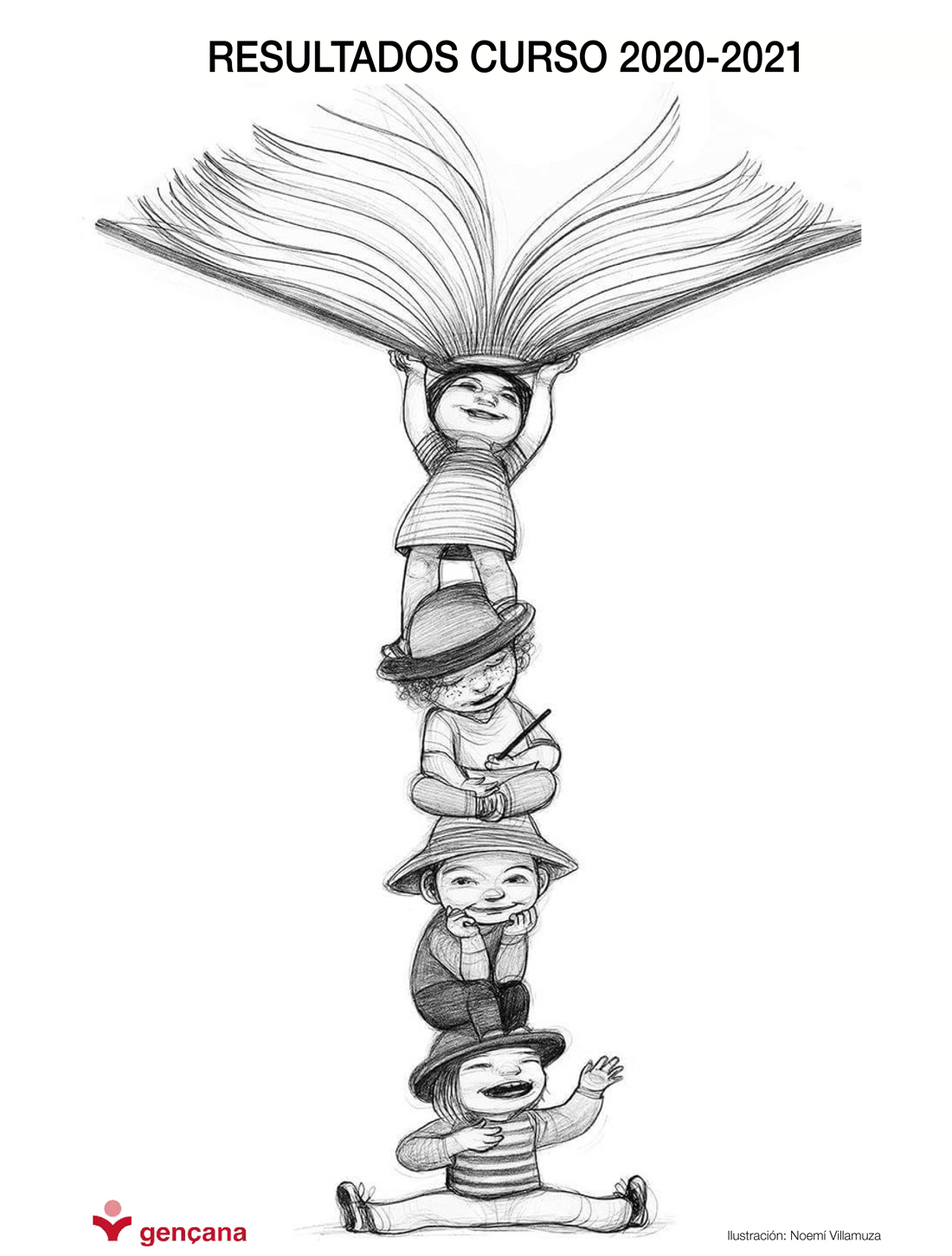 ilustración de noemí villamuza. portada resultados final de curso 2020-2021 gençana